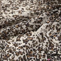 Voile Crêpe Viscose imprimé léopard Fond sable mouvant transparent