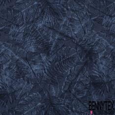 Molleton coton bouclette imprimé feuillage Fond bleu indigo grande laize