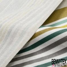 Coton Enduit Demi Natté imprimé Rayure Verticale Safran Anthracite Souris Naturel