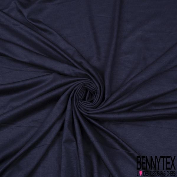 Jersey Modal Coton Uni Chiné Bleu Foncé Noir