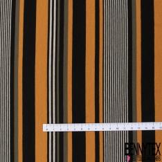 Jersey Viscose imprimé Rayure Horizontale Jaune d'Oeuf Crème Raisin Pétillant