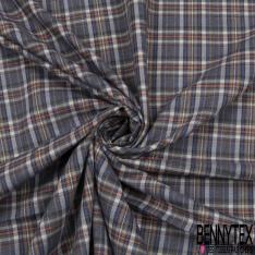 Fibranne Viscose Coton Souple Carreaux Fantaisies camaïeu bleu orange et blanc