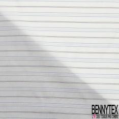 Doublure Bemberg imprimé rayures horizontales bleues, noires et grises Fond blanc