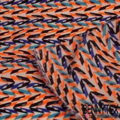 Polyester imprimé Chevron Multicolore Fond Blanc Cassé