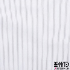 Popeline Polyamide Coton Elasthanne imprimé Fine Rayure Noir Verticale fond Blanc Eclatant