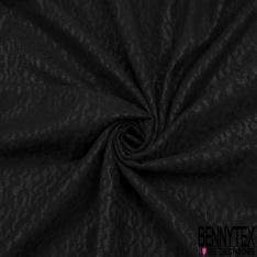 Scuba double face contrecollé recto dentelle léopard noir verso noir plastique