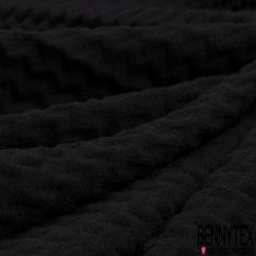Coton Gaufré Natté Zig Zag en relief ton sur ton noir