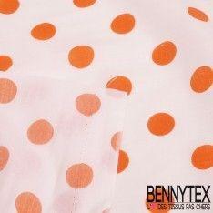 Coupon Coton Imprimé Pois Orange Fond Blanc