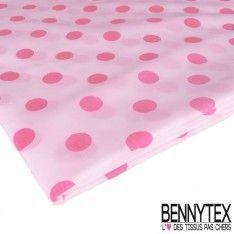 Coupon Coton Imprimé Pois Rose Fond Rose Blanc