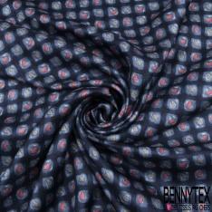 Coupon 3m Carré de Crêpe de Soie N°288: tournesol fond fantaisie floral cappuccino et bleu roi