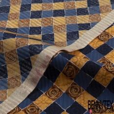 Coupon 3m Carré de Crêpe de Soie N°288: volubilis aquarelle dans cadre lavis ton bleu