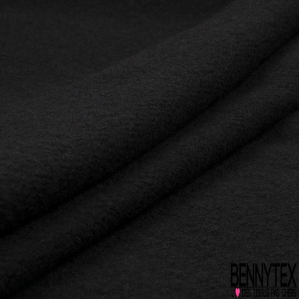 Laine double face gaufrée motif sinusoîde triangulaire ton sur ton noir profond