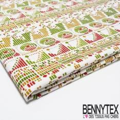 Coupon Coton Imprimé motif Graphique en ligne Dominante Vert
