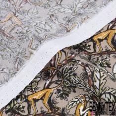 Coton imprimé singe or pépite dans la jungle fond sable
