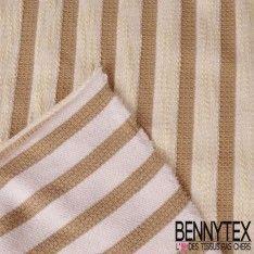 """Jersey Coton """"Serpillère"""" Marinière Beige"""