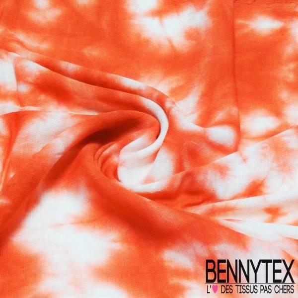 Lin Coton Crêpé effet Tie And Die Rouge Corail et Blanc