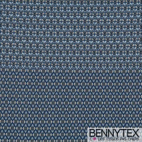 Jersey Viscose Imprime Couleur Bleu Indigo à Double Base