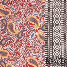Jersey Viscose Imprime En Panneau Motif Cashemire Dominante de Couleur Rouge et Jaune