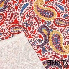 Jersey Viscose Imprime Motif Cashemire Dominante de Couleur Rouge et Jaune