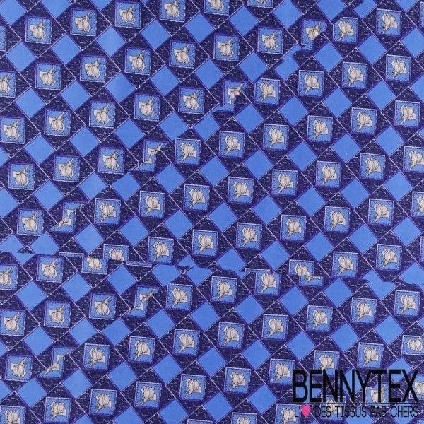 Carré de Soie Satin N°50 : Fleurs Encadrées Fond Bleu Turquin