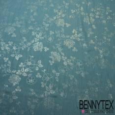 Mousseline Polyester Beige Foncé Lamé Imprimé Pailleté Fleur Argent