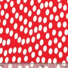 Jersey Cristal Polyester Rond Blanc Fond Rouge