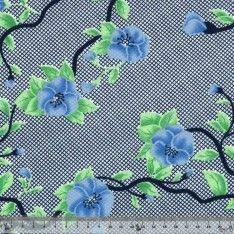 Jersey Cristal Polyester Fleur Bleu Fond Quadrillé