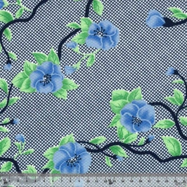 Maille Jersey Polyester Fleur Bleu Fond Quadrillé
