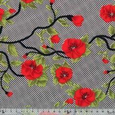 Maille Jersey Polyester Fleur Rouge Fond Quadrillé