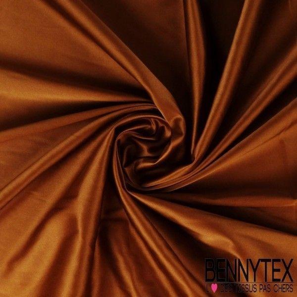 Satin Coton Polyester Élasthanne Couleur Brun