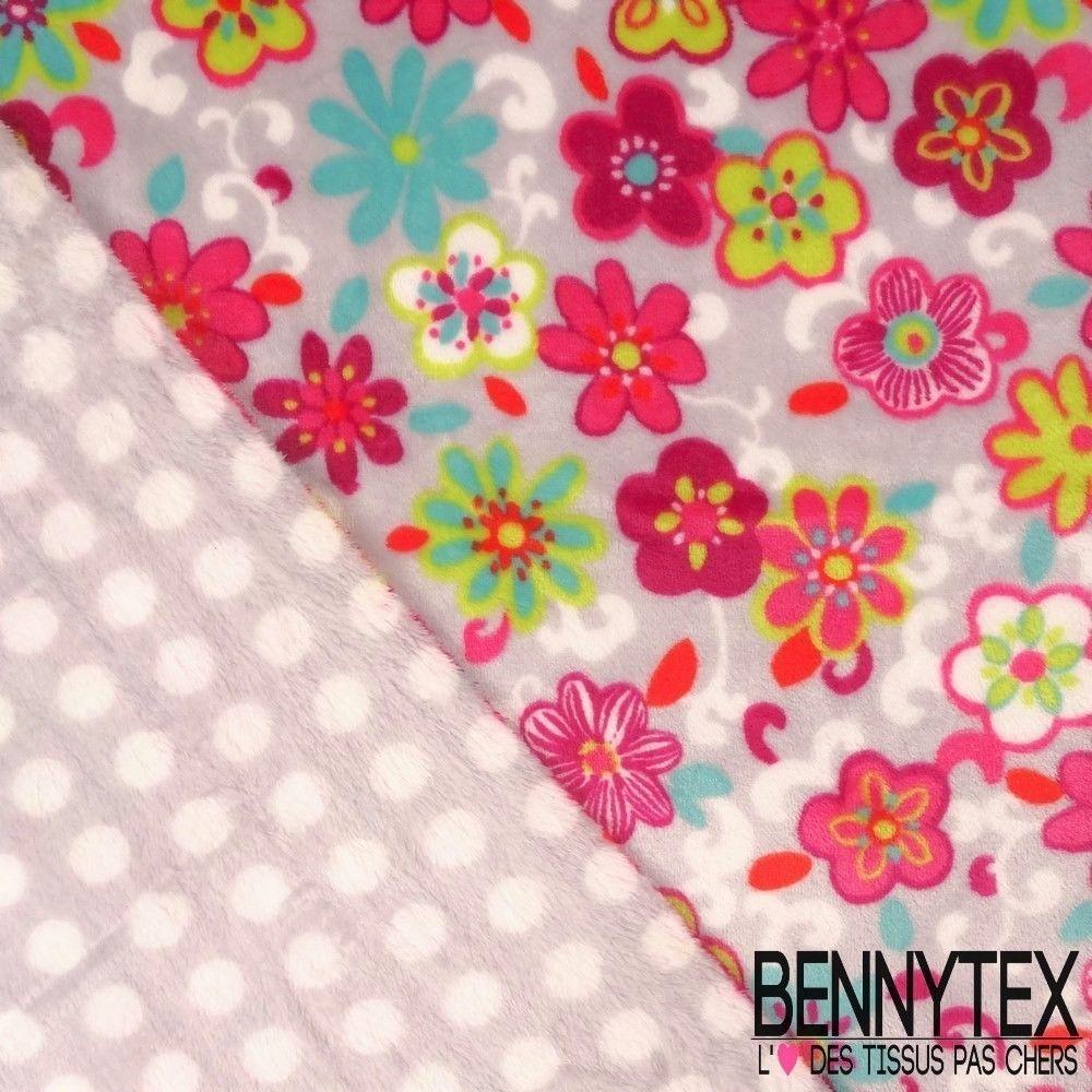 Tissu peluche imprim double face motif fleur fond gris - Tissu occultant pas cher ...