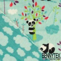 Tissu Peluche Imprimé Double Face Motif Panda