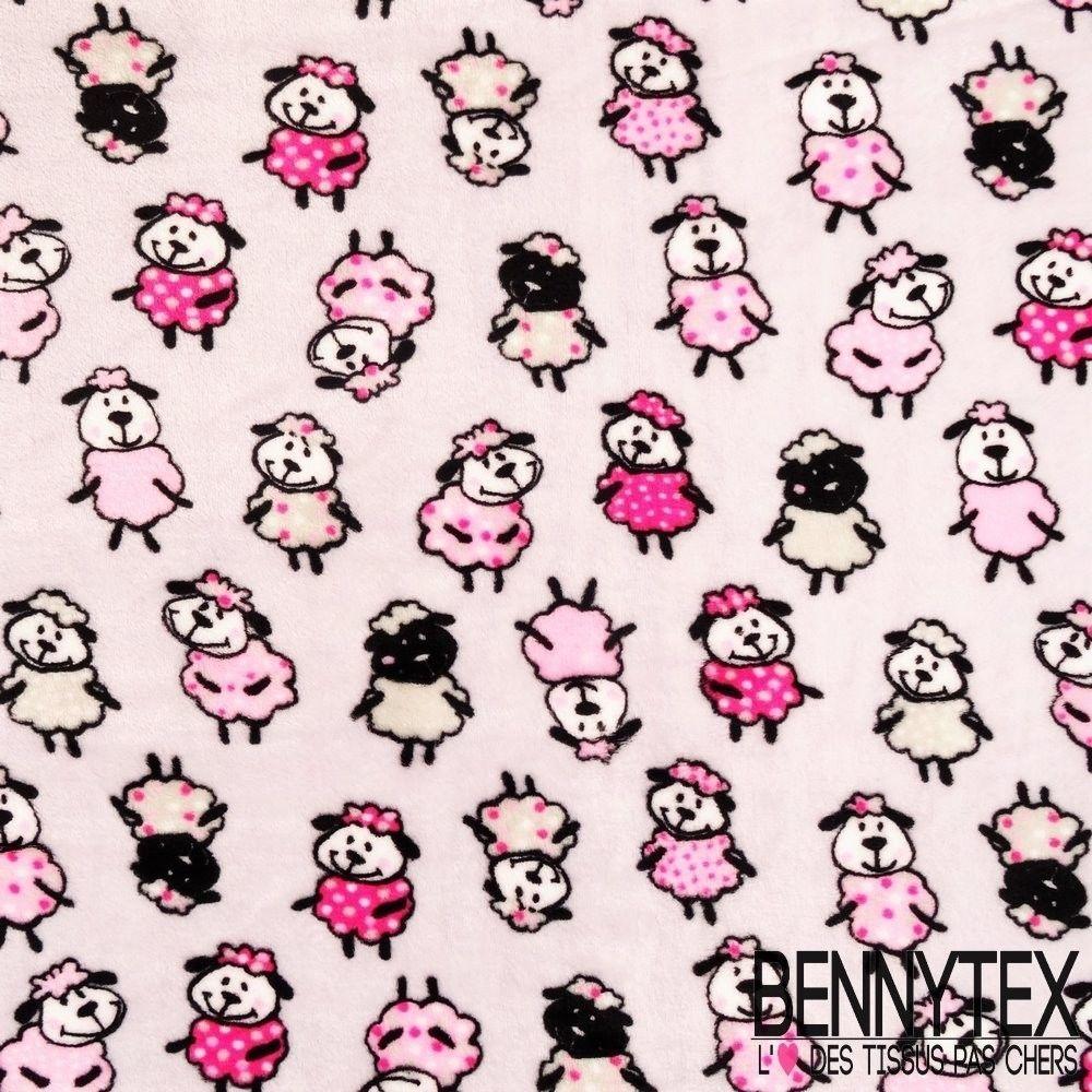 Tissu peluche imprim double face motif mouton fond gris bennytex vente de - Tissu imprime pas cher ...