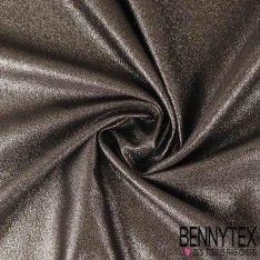 Crêpe Polyester Noir Entoilé Lurex Argent