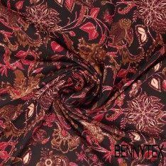 Microfibre Imprimé Motif Floral Ton Bordeaux Fond Noir