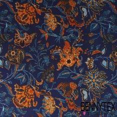 Microfibre Imprimé Motif Floral Fond Bleu