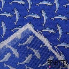 Carré de Soie Twill N°65 : Dauphin Fond Bleu