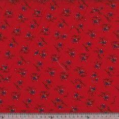 Carré de Soie Twill N°67 : Skieur fond Rouge Bordeaux