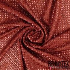 Maille 3D Polyester Petits carreaux Couleur Rouille