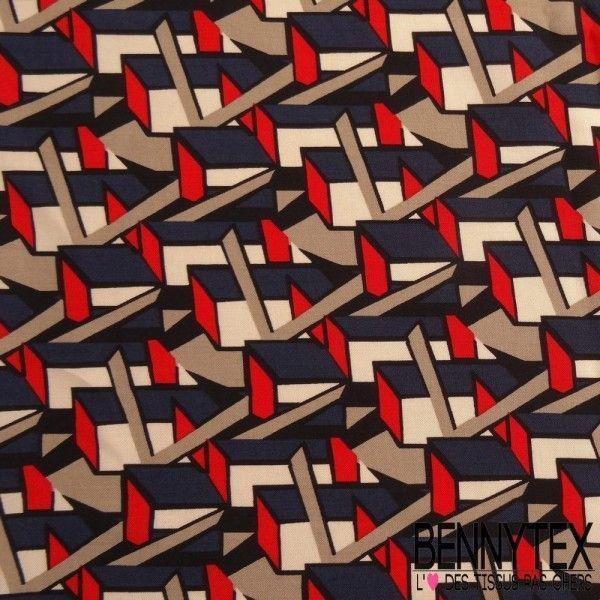 Fibranne Viscose Motif Graphique Cubique