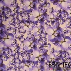 Crêpe de Soie Imprimé Fleurs Parme Fond Ecru