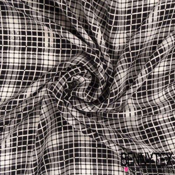 Crêpe de Soie Imprimé Carreau Blanc Et Noir