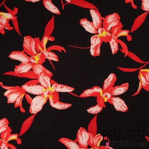 Crêpe de Soie Imprimé Orchidée Fond Noir