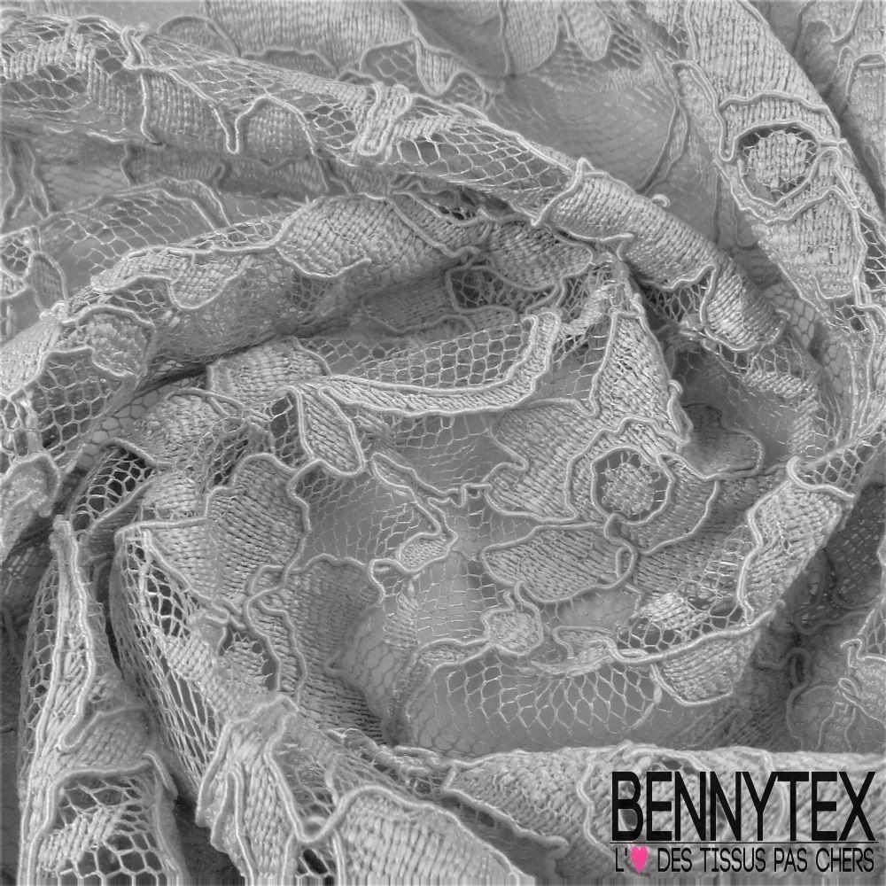 dentelle guipure fleurs haut de gamme couleur gris argent bennytex vente de tissus pas. Black Bedroom Furniture Sets. Home Design Ideas