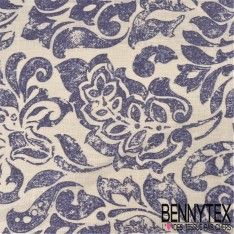 Toile de Lin Imprimé Modèle ROCCOCO Motif Fleurs Bleu