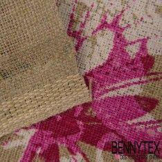 Toile Lin Imprimé Modèle MARIPOSARIO Motif Fleurs Fond Couleur Lin