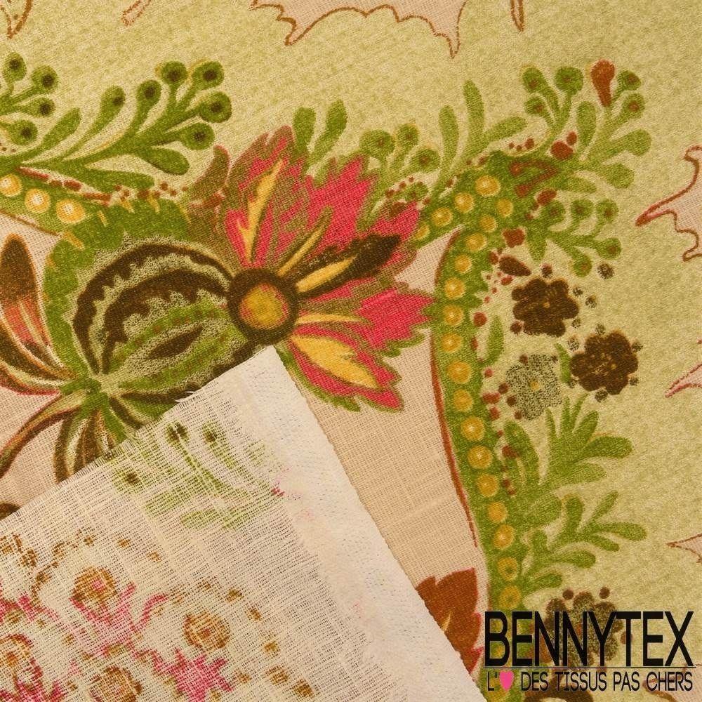 toile de lin imprim mod le laociane vert bennytex vente de tissus pas cher au m tre. Black Bedroom Furniture Sets. Home Design Ideas