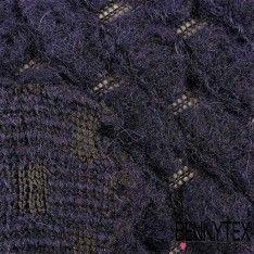 Laine Tissage Bouclette Bleu Marine Sur Trame Noir