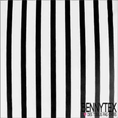 Jersey Polyester Marinière Blanc Cassé rayé Noir
