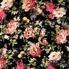 Jersey Viscose Imprime Bouquet de Fleurs